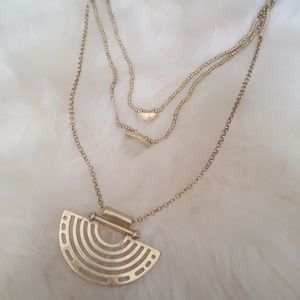 Lucky Brand Quartz Tri Level Boho Necklace